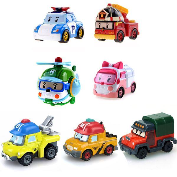 Silverlit Vehicle Robocar POLI Mini Hand Band Model Electric Car Ambulance Fire Truck ROY Cartoon Car Alloy Toy Deformed Police Car 3-6T 04