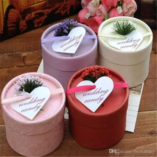 Hot European Style New silk ribbon and lavender Candy Box Cylindrical Wedding Favors Holder Gift Gold free shipping a567-a574 2017120205