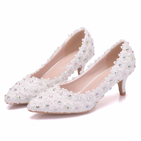Crystal Queen Rhinestone Lace Flower Wedding Shoes Womens Pumps Lace Crystal Ladies DRESS Shoes Spring Shoes With 5cm High Heels
