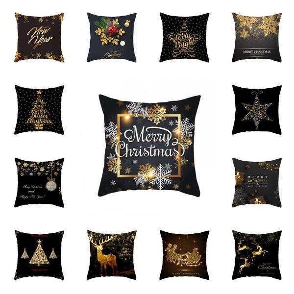 Natal Black Gold fronha criativo Snowflake Árvore Elk Almofada Design Tampa inicial Ornamentos Pillowcase Popular 4 2jz H1