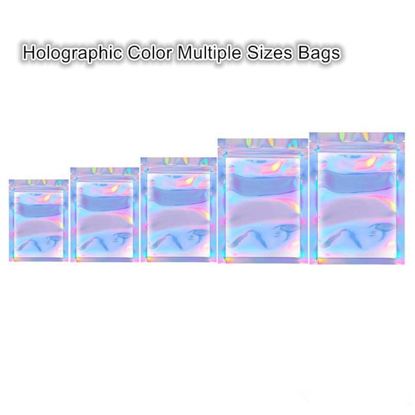 best selling Newest Arrival Holographic Color Multiple Sizes Resealable Smell Proof Bags Foil Pouch Bag Flat Bag for Party Favor Food Storage