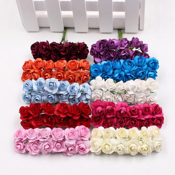 12pcs/lot Artificial Flower Mini Cute Paper Rose Handmade For Wedding Decoration DIY Wreath Gift Scrapbooking Craft Fake Flower