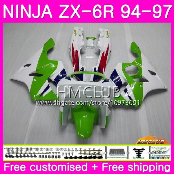 Bodys For KAWASAKI NINJA ZX 636 600CC ZX6R 94 95 96 97 61HM.1 Hot stock green ZX600 ZX636 ZX-6R 94 97 ZX 6 R 6R 1994 1995 1996 1997 Fairing