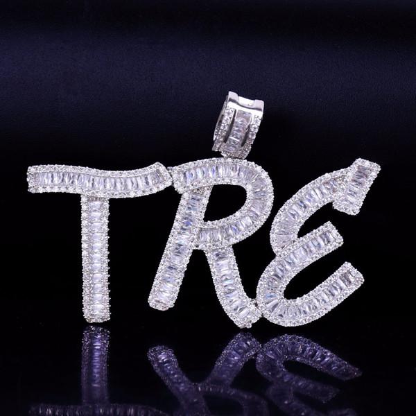 Hip Hop Nombre Personalizado Baguette Cartas Colgante Collar Con Cadena de Cuerda Libre Oro Plata Bling Zirconia Hombres Joyería Colgante