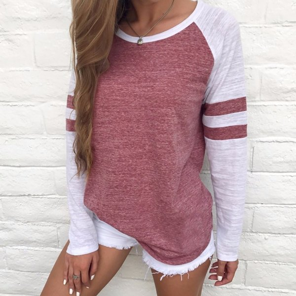 New Fashion Women Long Sleeve Top O-neck Patchwork Casual Basic Tee T Shirt