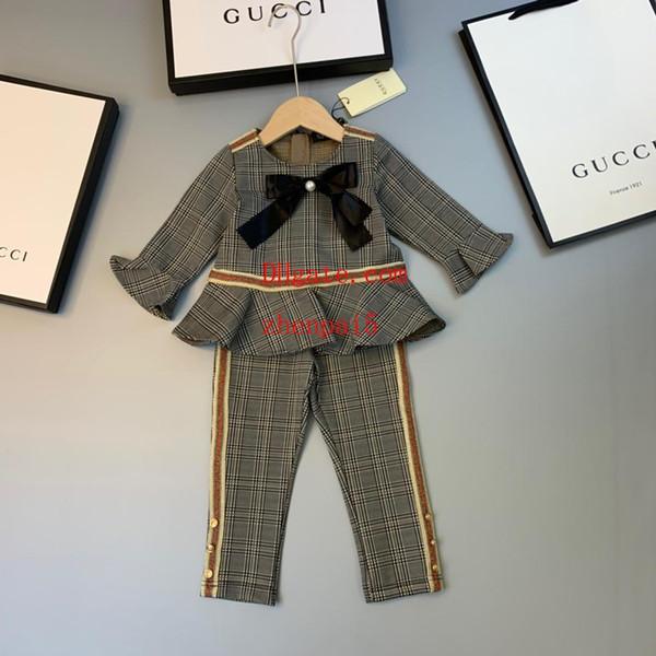Roupas da menina da criança Outono Bebê Meninas Duas Peças Crianças Flare Manga Arco t camisa casual Calças Menina Moda Outfits meninas cair roupas baby15