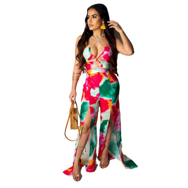 2019 Printemps Printemps Arc Costume Femmes Jumpsuit Sangle Top TeintureBoot Coupe Pantalon Discothèque Vêtements Taille Haute Costume Sexy Dames Barboteuses