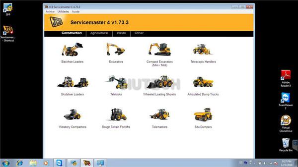 JCB ServiceMaster 4 v1.73 Herramienta de diagnóstico para la agricultura JCB Service electrónico construcción de software de diagnóstico
