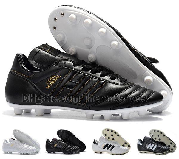 Clássicos quentes Mens Copa Mundial de Couro FG Sapatos de Futebol Chuteiras com desconto Copa do Mundo de Futebol Botas Preto Branco botines futbol Tamanho 39-45