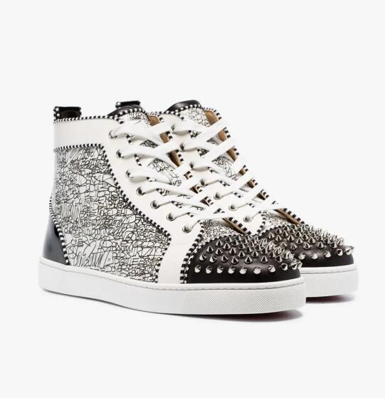 Black,White Graffiti Leather High Top Sneakers Men,Women Spikes Orlato Red Bottom Sneaker Shoes Lace-up Luxury Cheap Most Popular Trainers