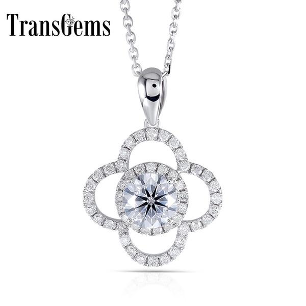 Transgems Snowflower en forma de oro blanco de 14k 585 centro 1ct 6.5mm F Color Moissanite Slide Halo Collar colgante con acentos Y190726