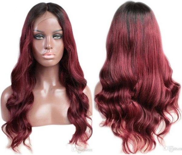Front Lace Wig Malaysian Virgin Human Hair Wavy Black Root Two Tone Ombre Burgundy 1B/99J Full Lace Wig For Black Woman