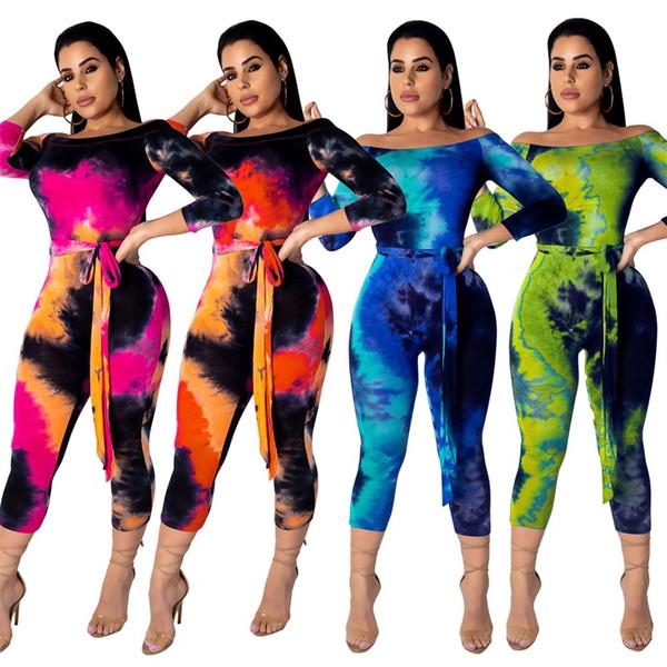 Bayan Kapalı Omuz Tulum Mulitcolor Yıldız Baskı Kırpılmış Pantolon Uzun Kollu Tulumlar Sıkı Seksi Kadın Yaz Ev Giyim 39 cm E1KK