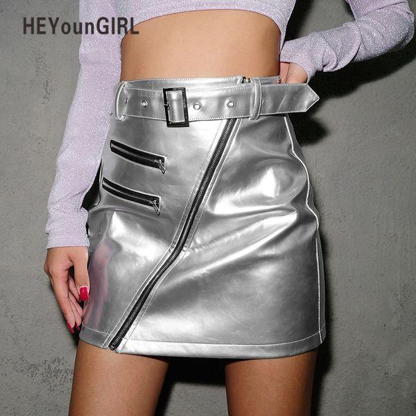 Heyoungirl Punk Pu Faldas de cuero Para Mujer Casual Silver High Waist Pencil Skirt Harajuku Coreano Wrap Short Falda Mujer Bailando Y19043002