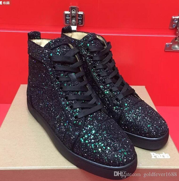Yüksek Üst Kırmızı Alt Sneakers yeni gündelik Yeni Moda Erkek Siyah Spike Çivili Toes damla nakliye, Süet Deri Casual Kaykay Spor