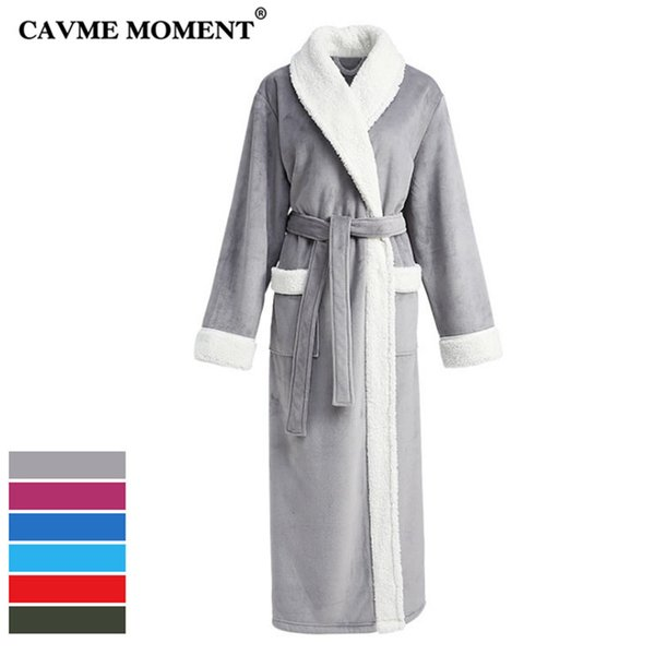 CAVME Long Flannel Bathrobe for Lovers CUSTOM Plus Size Women Men's Robe Night Dressing Gown Douple Face Thicken with Pocket