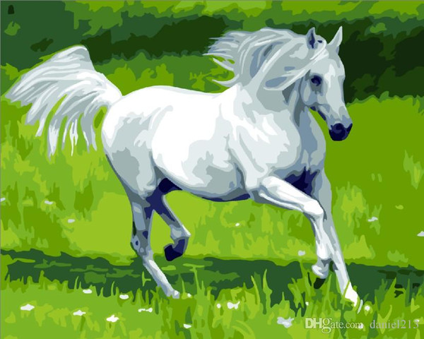 16x20 inches DIY Paint On Canvas drawing By Numbers Kits Dreamy White Horses on Grassland Art Acrylic Oil Painting Frame For Adults