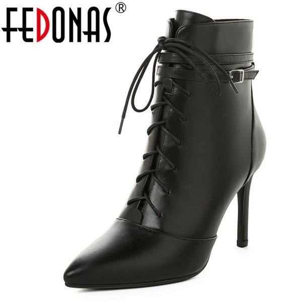 FEDONAS Short Boots Women Genuine Leather Ankle Boots Women Autumn Winter Cross Tied Side Zipper Party Basic Shoes Woman