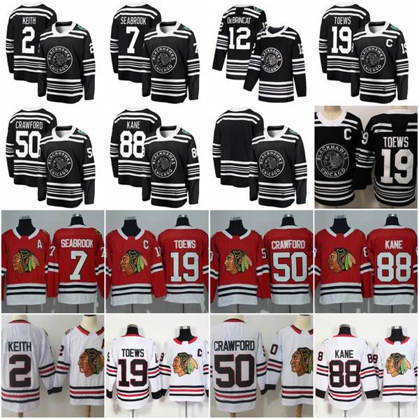 2018 Chicago Blackhawks 19 Jonathan Toews 88 Patrick Kane Brandon Saad Duncan Keith Marian Hossa Sharp Brent Seabrook Crawford Hockey Jersey