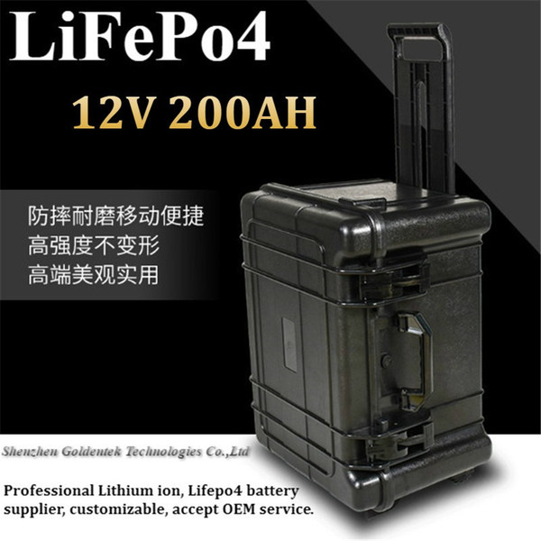 Power ABS trolley case 12v lifepo4 200AH battery 12V 200AH +10A Charger maintenance free replacement 12V 200AH for inverter UPS