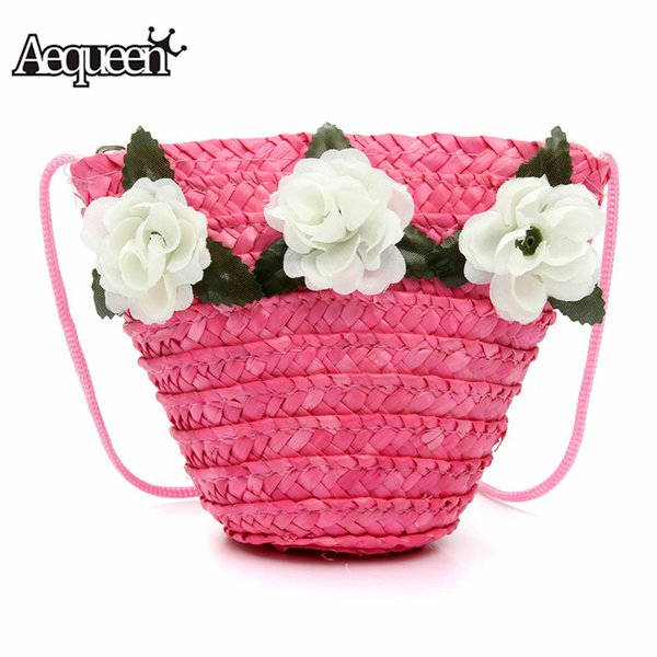 Cheap AEQUEEN 2018 Summer Straw Bag For Girl Shoulder Bag Beach Rattan Wallet Woven Bag Mini Pink Children Purse Flower Women Handbag