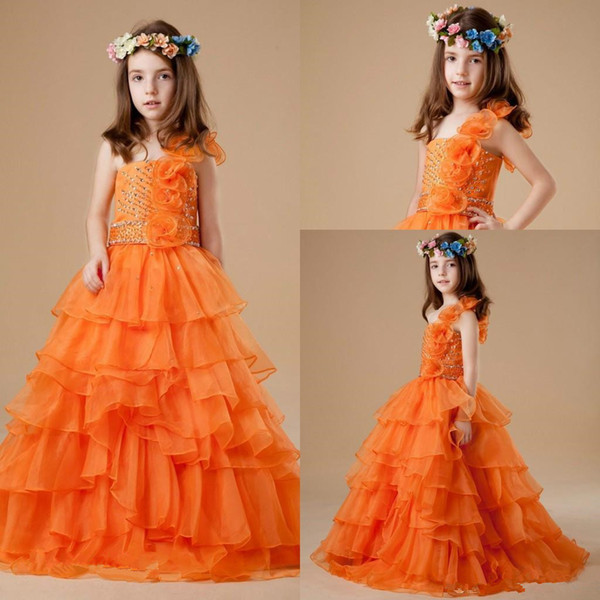 Cute Orange Colour Girl's Pageant Dresses 2019 Princess Ball Gown Party Cupcake Prom Dress For Short Pretty Flower Girl Dresses