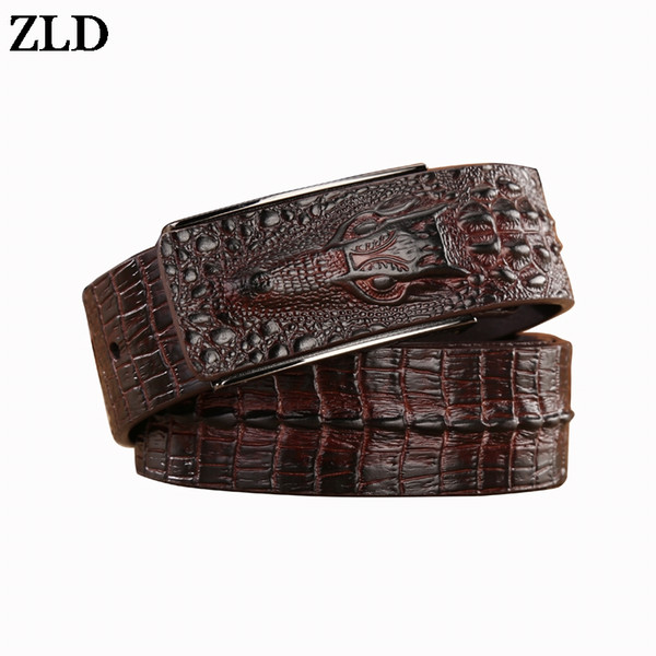ZLD brand new all-matched men's cow genuine leather belt cowboy classic crocodile stylish men smooth buckle waist strap jeans