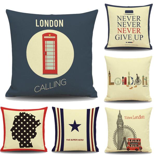 Page One Fashion Linen Home London Funda de almohada de estilo británico Funda de cojín de cintura cuadrada Habitación suave Regalo Impresión de lados individuales