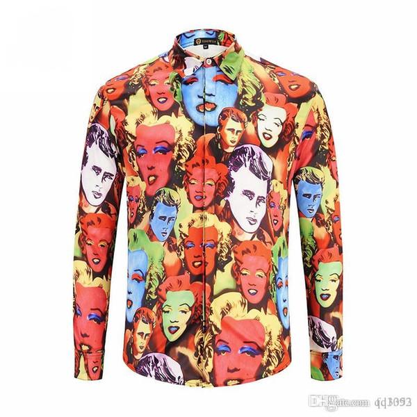 HOT 2017 Autumn winter Harajuku Medusa gold chain/Dog Rose print shirts Fashion Retro floral sweater Men long sleeve tops shirts 2XL