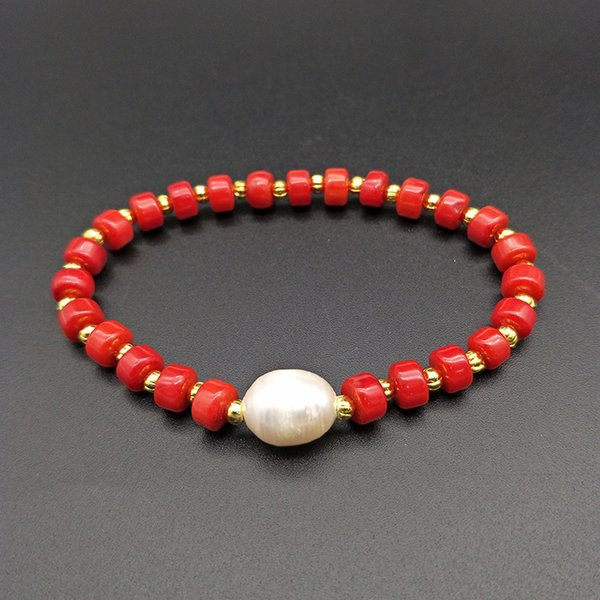 Shuangsheng Natural Red Coral Bracelet Coral  and Golden  Pearl Beaded Bohemian Jewelry Women's Gifts