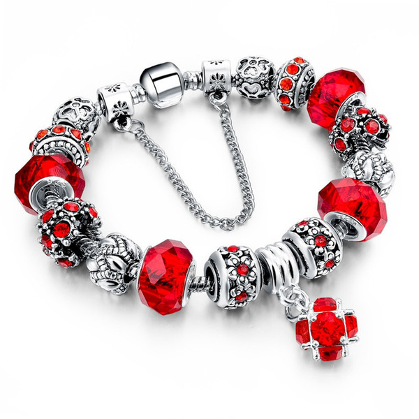 Main Bricolage Charme Bracelets Bracelets Femmes Rose Fleur Pendentif Marque Bracelet Charme En Cristal Bijoux Pour Les Femmes Cadeau