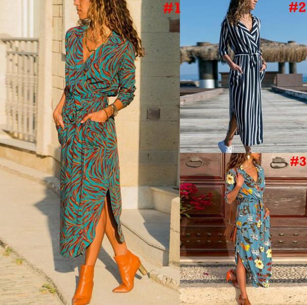 Gestreifte Lace Up Swing Kleid Frauen Button Revers V-Ausschnitt Boho Kleid Sommer Blumendruck Kurzarm Sommerkleid LJJO6979