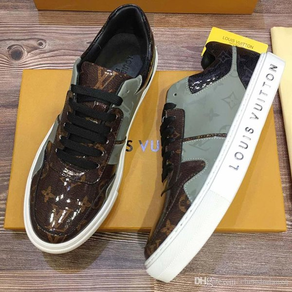 Top quality Mens Platforms Fashion Casual sport Shoes Genuine Leather Breathable personality Printed stripes sport shoes size 38-45 0077