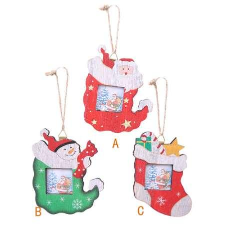 Christmas Photo Frame Pendants Tree Wooden Ornaments Holiday Hanging Decor Creative wooden christmas photo frame hanging YF