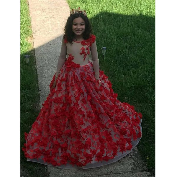 Charming Red Full Lace Little Girls Dress for Wedding Jewel Neck Long Sleeve 3D Flower Child Pageant Dress Sweep Train Prom Gown