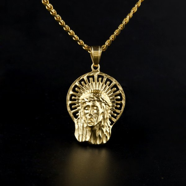Hip Hop Jesus Cabeça Pingente de Colar de Cristo 18 K Banhado A Ouro Religiosa Jesus Rosto Peça Pingente Com Cuba Cadeia de Jóias Para homens