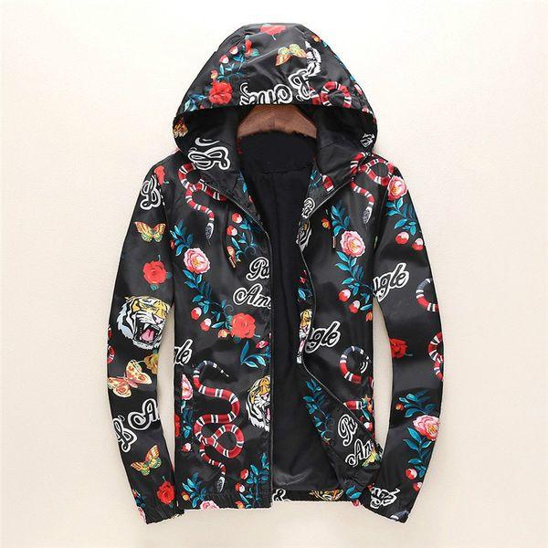 19SS Diseñador de moda chaqueta rompevientos manga larga para hombre chaquetas sudadera con capucha cremallera con el patrón animal de la letra más el tamaño de ropa M-3XL