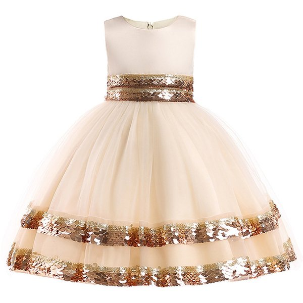 Baby Christmas Sequin Girl Floral Princess Party Birthday Wedding Dress Children Clothing Kids Clothes