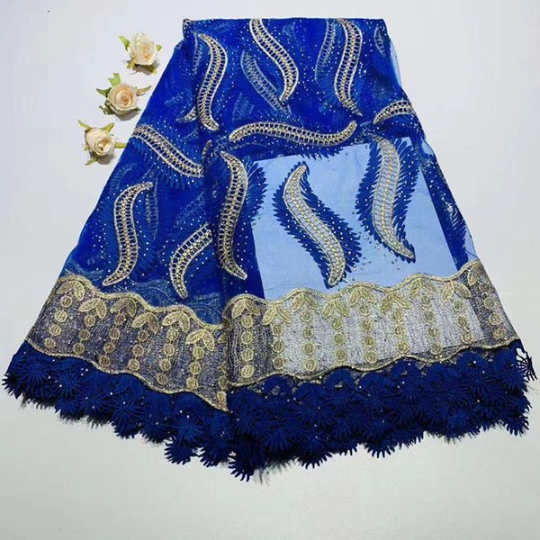 Dentelle Africaine Tissu Brodé Nigérian bleu royal Français Dentelle Tissu De Haute Qualité Rose Fleur Français Net Dentelle Tissu
