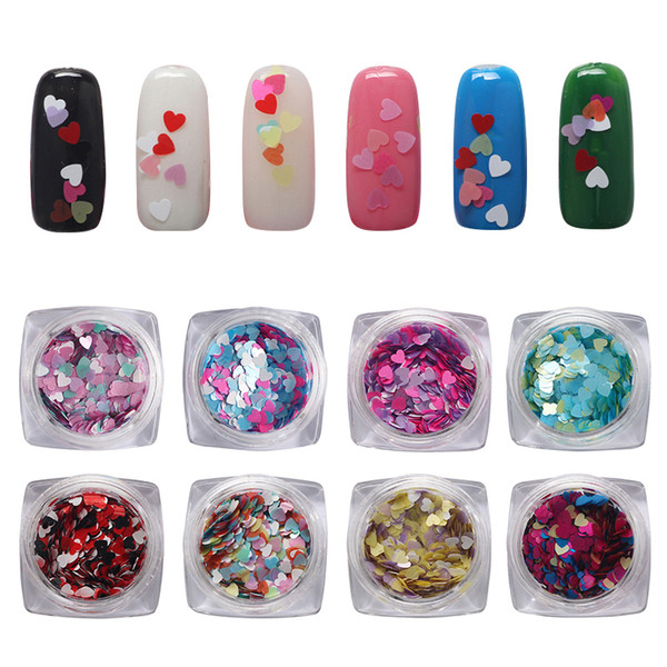 Multi-couleur en forme de coeur Sequin Nail DIY Kleurrijke Mixes Nail Pailletten Glitter Poeder Ensembles Glitter Art Decoraties