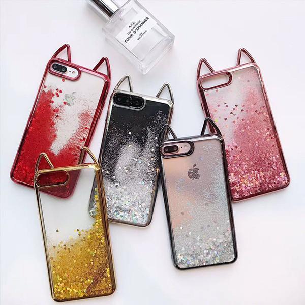 Luxus weiche tpu klar quicksand zurück telefon abdeckung katze ohr elektroplate bumper für iphone fällen für apple 7 8plus xr x max