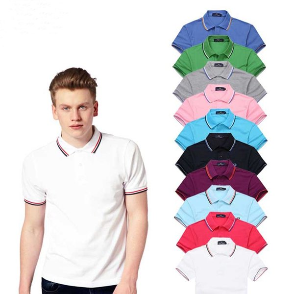 Men Shorts Sleeve Polo Shirts Popular Embroidery Wheat Polos Custom Made Dress Shirts Solid Color T Shirt