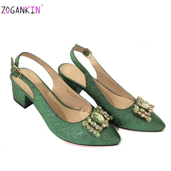 Grüne Größe 37-42 Super Bequeme Quadratische Fersen Schuhe Frühling Herbst Pumps Schnalle Spitz Sandalen Hochzeit Schuhe Frauen