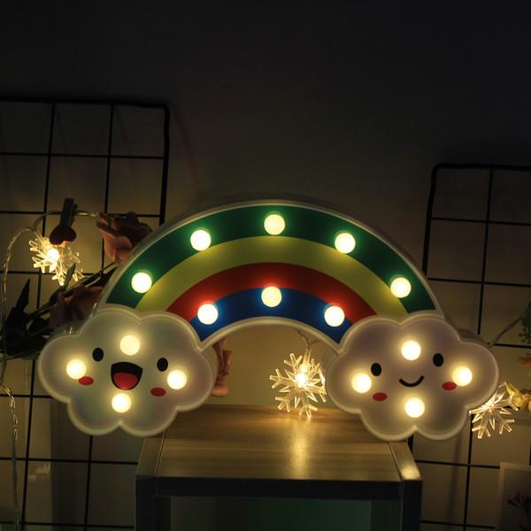 Nachtlicht Regenbogen Wandlampen LED für Kinderzimmer Battery Power Table Kunststoff