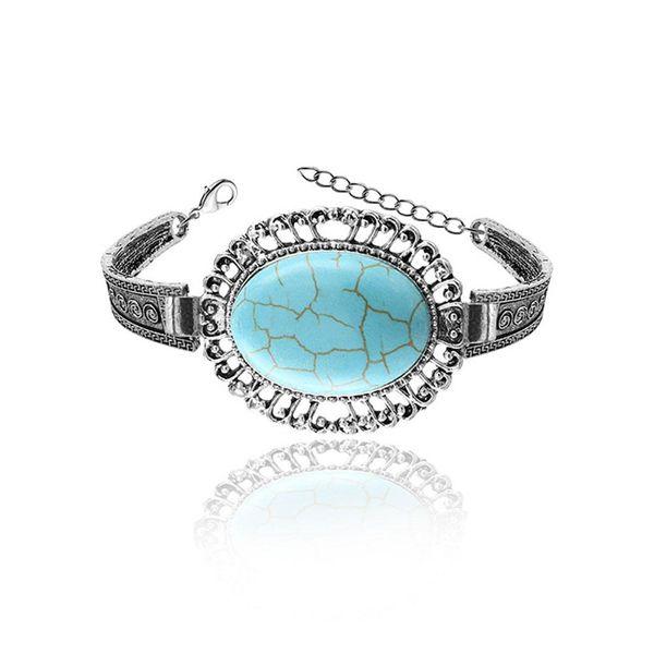 XY Fancy Women Bangles Silver Color Retro Style Egg Design Hollow Out Pistil Blue Stone Bracelet Chain