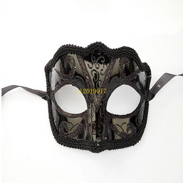 300pcs Black Venice Masks Masquerade Party Mask Regalo di Natale Mardi Gras Man Costume Sexy pizzo con frange Gilter Donna Dance Mask