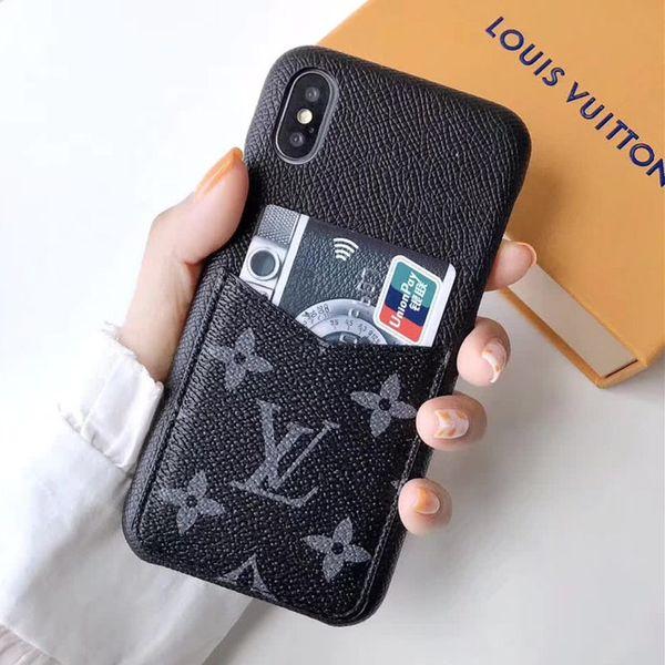 Más reciente sincronización oficial de lujo del diseñador del teléfono case para iphone x xs xr xs max 7 7 plus 8 8 plus titular de la tarjeta de cuero cubierta del teléfono duro