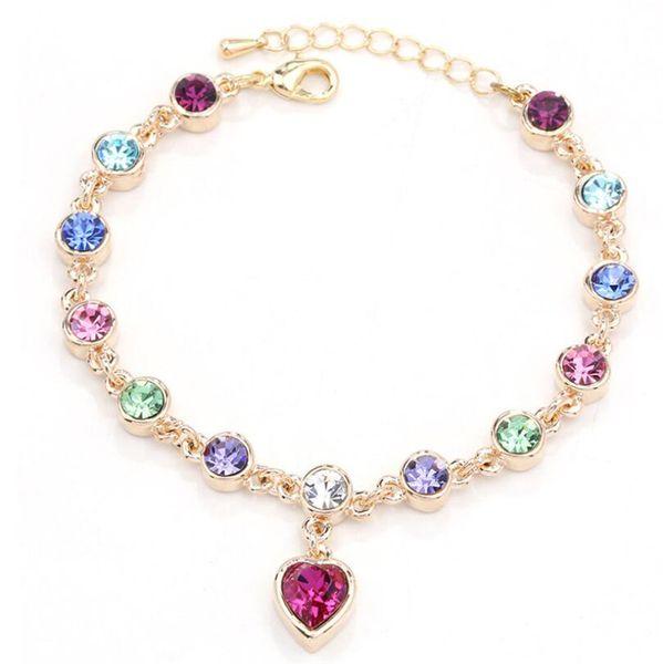 hot sell Austrian crystal full diamond bracelet Silver plated birthstone Crystal jewelry Optional multicolor Crystal Bracelet maxi statemet