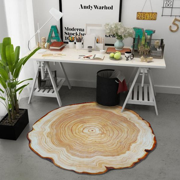Simulated wood carpet Abstract texture vintage rug Computer swivel chair mat Non-slip round mat printed plush 3D floor