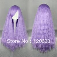 Free deliver Wholesale Hair Nature Cheap 100% Kanekalon Cheap 70cm Long light purple Beautiful lolita wig Anime Wig